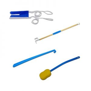 Nova Deluxe Hip Kit image. Sock aid, button puller, long shoehorn and long handle sponge shown on a white background.
