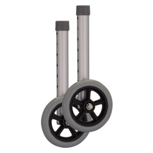 "Nova 5"" walker wheels, shown stand alone. Grey with a silver foot shaft."