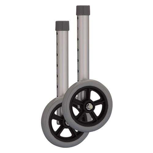 """Nova 5"""" walker wheels, shown stand alone. Grey with a silver foot shaft."""