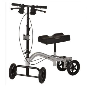 Nova Knee Walker TKW-12. Silver frame with black parts and wheels. Black seat with groove for the knee.