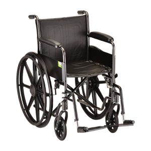 wheelchair rental default image. An example of a rental wheelchair from Oswald's. All black with silver detachable footrests.