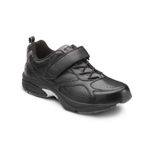 Dr. Comfort Winner Diabetic Walking Shoe Velcro and Laces in Black with grey accents.
