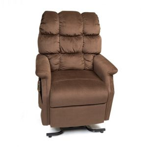 Golden Cambridge Power Recliner with Lift. Power Lift Recliner in it's raised position. The frame of the chair is on flat on the ground while the rest of the chair is lifted and at a 35 degree angle. Golden Hazelnut fabric.