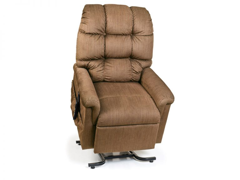 Golden Cirrus Power Recliner with Lift. Power Lift Recliner in it's raised position. The frame of the chair is on flat on the ground while the rest of the chair is lifted and at a 35 degree angle. In Golden Copper fabric.