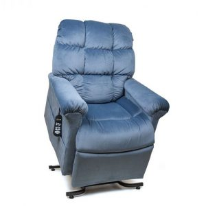 Golden Power Recliner Cloud with Lift. Power Lift Recliner in it's raised position. The frame of the chair is on flat on the ground while the rest of the chair is lifted and at a 35 degree angle. In Golden Calypso fabric.