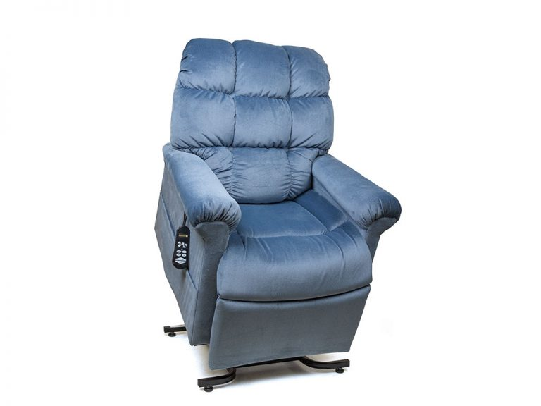 Golden Cloud Lift Chair. Power Lift Recliner in it's raised position. The frame of the chair is on flat on the ground while the rest of the chair is lifted and at a 35 degree angle. In Golden Calypso fabric.