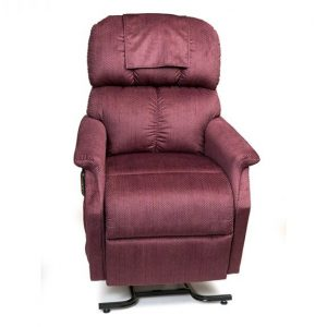 Golden Comforter Power Recliner with Lift. Power Lift Recliner in it's raised position. The frame of the chair is on flat on the ground while the rest of the chair is lifted and at a 35 degree angle. In Golden Cabernet fabric.