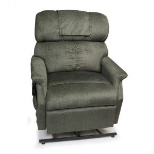 Golden Comforter Wide Power Recliner with Lift. Power Lift Recliner in it's raised position. The frame of the chair is on flat on the ground while the rest of the chair is lifted and at a 35 degree angle. In Golden Evergreen fabric.