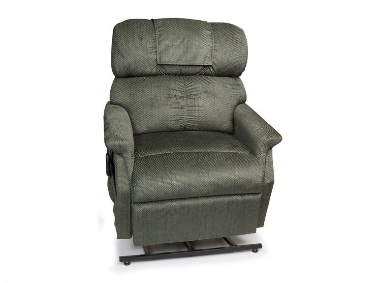 Golden Comforter Wide Lift Chair. Power Lift Recliner in it's raised position. The frame of the chair is on flat on the ground while the rest of the chair is lifted and at a 35 degree angle. In Golden Evergreen fabric.