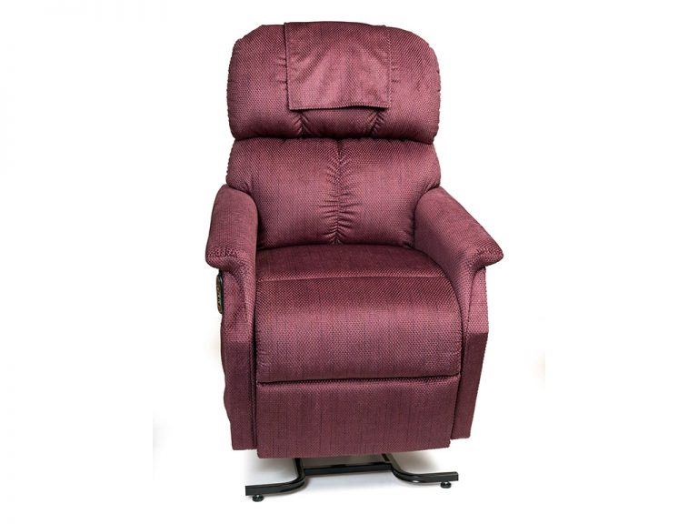 Golden Comforter Lift Chair. Power Lift Recliner in it's raised position. The frame of the chair is on flat on the ground while the rest of the chair is lifted and at a 35 degree angle. In Golden Cabernet fabric.