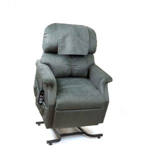 Golden MaxiComforter Power Recliner with Lift. Power Lift Recliner in it's raised position. The frame of the chair is on flat on the ground while the rest of the chair is lifted and at a 35 degree angle. In Golden Evergreen fabric.