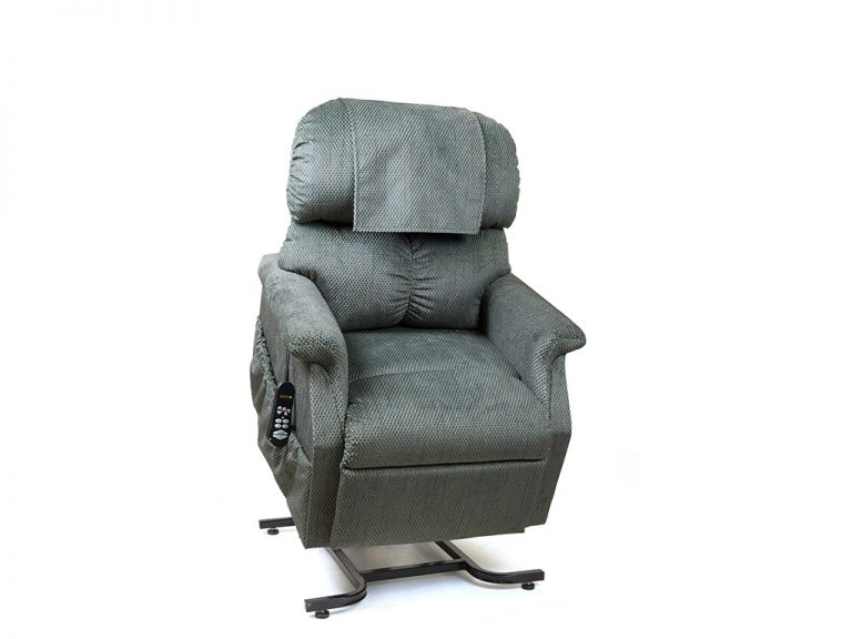 Golden MaxiComforter Lift Chair. Power Lift Recliner in it's raised position. The frame of the chair is on flat on the ground while the rest of the chair is lifted and at a 35 degree angle. In Golden Evergreen fabric.