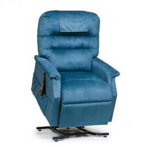 Golden Monarch Power Recliner with lift. Power Lift Recliner in it's raised position. The frame of the chair is on flat on the ground while the rest of the chair is lifted and at a 35 degree angle. Golden Cornflower Fabric.