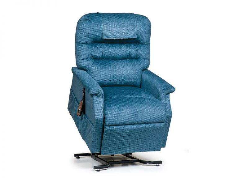 Golden Monarch Lift Chair. Power Lift Recliner in it's raised position. The frame of the chair is on flat on the ground while the rest of the chair is lifted and at a 35 degree angle. Golden Cornflower Fabric.