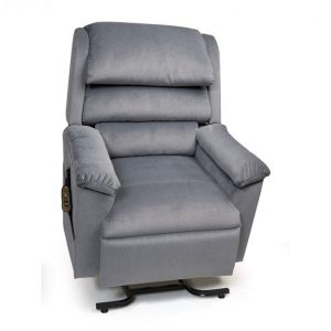 Golden Regal Power recliner with lift. 3-position style. Power Lift Recliner in it's raised position. The frame of the chair is on flat on the ground while the rest of the chair is lifted and at a 35 degree angle. In Golden Sterling fabric.