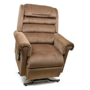 Golden Relaxer lift chair. Power Lift Recliner in it's raised position. The frame of the chair is on flat on the ground while the rest of the chair is lifted and at a 35 degree angle. In Golden Copper fabric.
