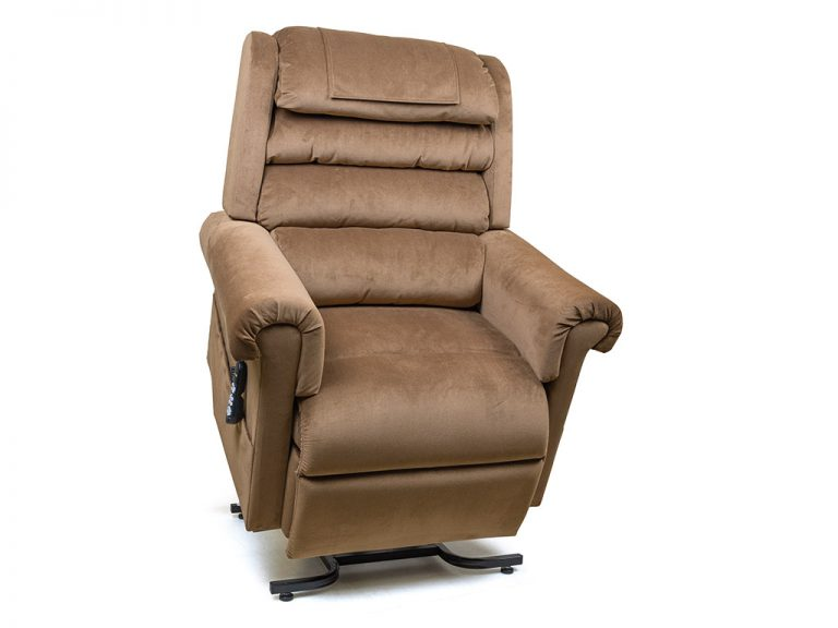 Golden Relaxer Power Recliner with Lift. Power Lift Recliner in it's raised position. The frame of the chair is on flat on the ground while the rest of the chair is lifted and at a 35 degree angle. In Golden Copper fabric.