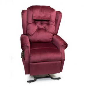 Golden Williamsburg Lift Chair. Power Lift Recliner in it's raised position. The frame of the chair is on flat on the ground while the rest of the chair is lifted and at a 35 degree angle. Golden Shiraz fabric.