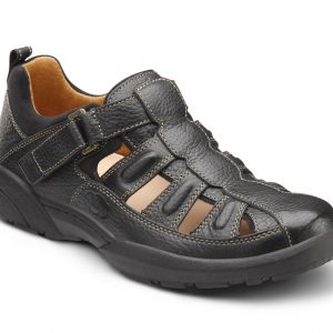 dr. comfort beachcomber diabetic shoes casual. Black with a tan interior.