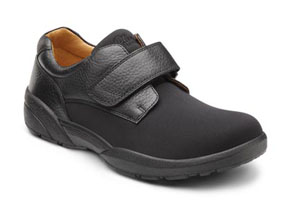 dr. comfort brian diabetic shoes casual. Black with a tan interior.