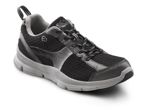 dr. comfort chris diabetic shoes athletic. Stylized black and grey pattern.