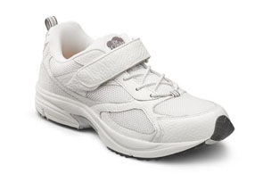 dr. comfort endurance diabetic shoes athletic all white outside of black sole accents.