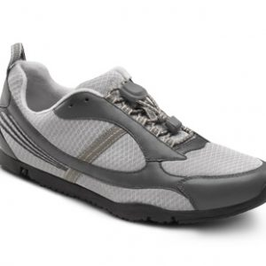 dr. comfort flex-oa gary diabetic shoes athletic. Two-tone grey with a black sole.