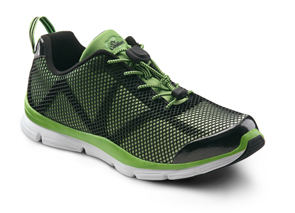 dr. comfort jason diabetic shoes athletic. Green and black mesh color shown. White sole.