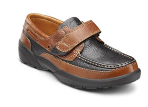 dr. comfort mike diabetic shoes casual. Tan with black accents and a black sole.