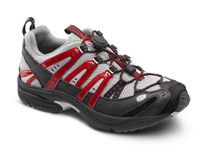 dr. comfort performance diabetic shoes athletic sports running. Black and gray with red accents. Black and grey sole.