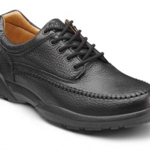 dr. comfort stallion diabetic shoes dress. black with a tan interior.