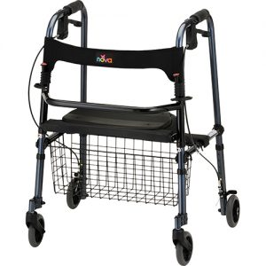 "Nova De-Light Rollator. Red Frame with black accessories, black seat and black basket in the front. Traditional walker style, the seat folds up and the sides fold in. 5"" grey rubber wheels."