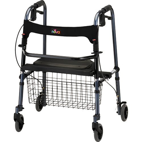 """Nova De-Light Rollator. Red Frame with black accessories, black seat and black basket in the front. Traditional walker style, the seat folds up and the sides fold in. 5"""" grey rubber wheels."""