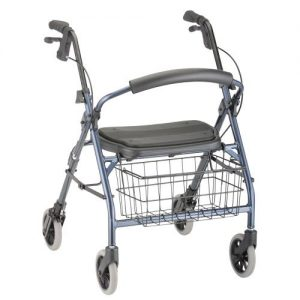 "Nova Cruiser Deluxe Jr. Rollator. Blue frame with black accessories, black seat and black wire basket hanging on the front. 8"" grey rubber wheels."