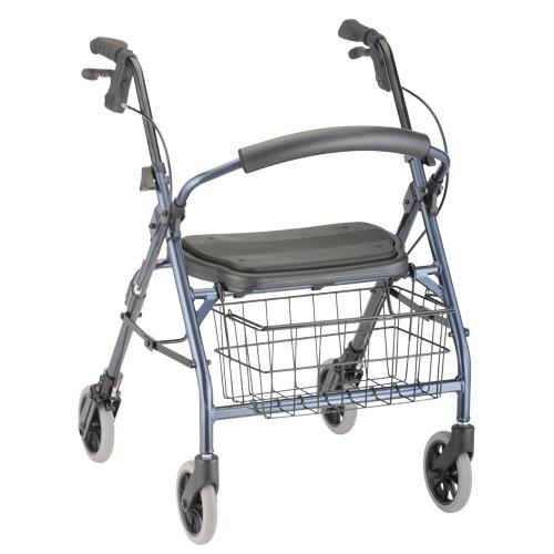 """Nova Cruiser Deluxe Jr. Rollator. Blue frame with black accessories, black seat and black wire basket hanging on the front. 8"""" grey rubber wheels."""