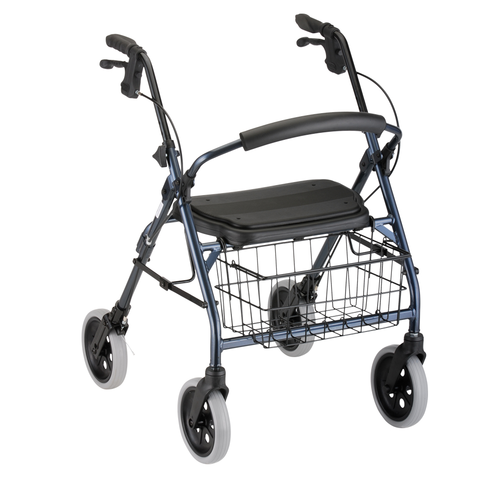 "Nova Cruiser Deluxe Rollator. Blue frame with black accessories, black seat and black basket hanging in the front. 8"" grey rubber wheels."