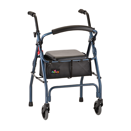 """Nova Cruiser II Rollator. Blue frame with black accessories, black seat and black basket underneath seat. Grey 5"""" rubber wheels in the front, back side is two grey rubber stoppers. Used for rehabilitation."""