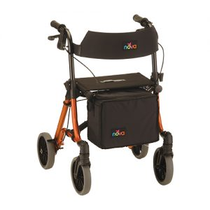 "Nova Forte 20"" Rollator. Orange frame with black accessories, black seat, black basket hanging in front. European-style side folding. 8"" Grey rubber wheels."
