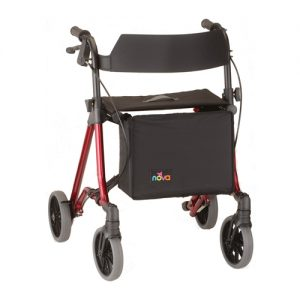 "Nova Forte 23"" Rollator. Red frame with black accessories, black seat, black basket hanging in front. European-style side folding. 8"" Grey rubber wheels."