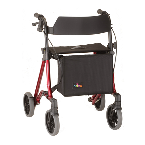 """Nova Forte 23"""" Rollator. Red frame with black accessories, black seat, black basket hanging in front. European-style side folding. 8"""" Grey rubber wheels."""