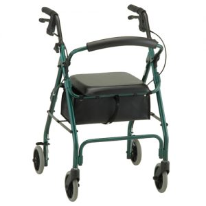 "Nova GetGo Classic Rollator. Blue Frame with black accessories and black seat with a black basket underneath. Rubber wheels 5"" size, grey in color."