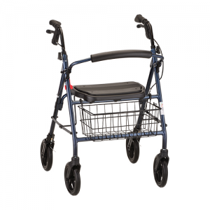 "Nova Mack Heavy Duty Rollator. Blue frame with black accessories, black seat and black basket on the front. 8"" black plastic wheels."