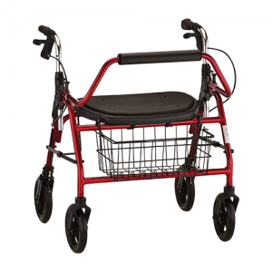 "Nova Mighty Mack Heavy Duty Rollator. Red frame with black accessories, extra-wide black seat and a black basket on the front. The handles connect to the frame with a reinforced steel joint. 8"" black rubber wheels."