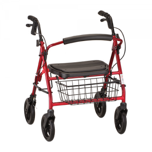 "Nova Mini Mack Rollator. Red heavy duty frame with black accessories, black seat and black basket on front. 8"" black plastic wheels."