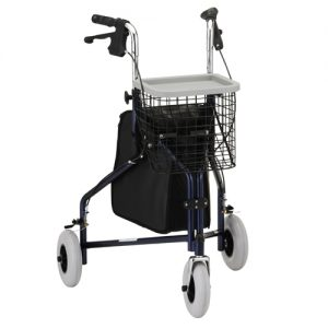 "Nova traveller rollator. Blue frame, black basket black bag. No seat. 10"" extra-wide grey rubber wheels."