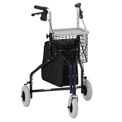 """Nova traveller rollator. Blue frame, black basket black bag. No seat. 10"""" extra-wide grey rubber wheels."""