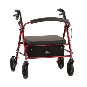 "Nova Vibe Petite Wide Rollator. Red frame with black accessories, black seat and black basket under the seat. 8"" Black plastic wheels."