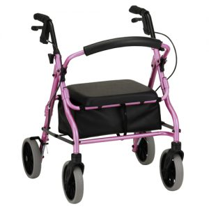 "Nova Zoom 18"" rollator. Pink frame with black accessories, black seat and a black basket under the seat. Black handbrakes, grey wheels."
