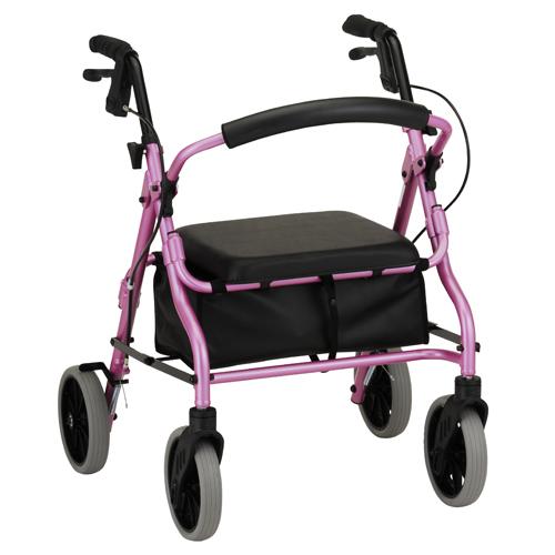"Nova Zoom 18"" rollator. Pink frame with black accessories, black seat and a black basket under the seat. Black handbrakes, grey wheels."