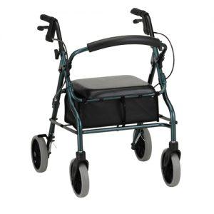 "Nova Zoom 20"" rollator. Dark green frame, black seat, black basket under seat. Grey wheels, handbrakes with black casing."
